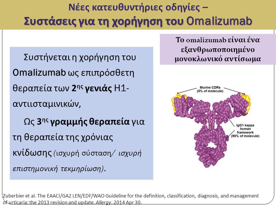 Συστάσεις για τη χορήγηση του Omalizumab Νέες κατευθυντήριες οδηγίες – Συστάσεις για τη χορήγηση του Omalizumab Συστήνεται η χορήγηση του Omalizumab ως επιπρόσθετη θεραπεία των 2 ης γενιάς H1- αντιισταμινικών, Ως 3 ης γραμμής θεραπεία για τη θεραπεία της χρόνιας κνίδωσης ( ισχυρή σύσταση / ισχυρή επιστημονική τεκμηρίωση ).