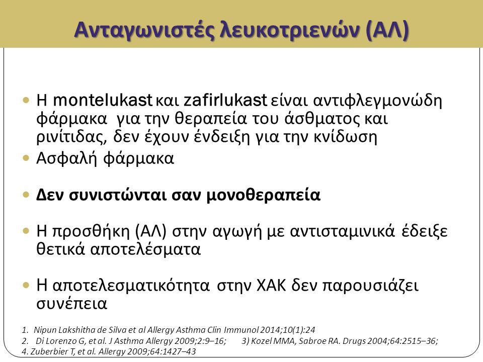 Ανταγωνιστές λευκοτριενών (ΑΛ) Η montelukast και zafirlukast είναι αντιφλεγμονώδη φάρμακα για την θεραπεία του άσθματος και ρινίτιδας, δεν έχουν ένδειξη για την κνίδωση Ασφαλή φάρμακα Δεν συνιστώνται σαν μονοθεραπεία Η προσθήκη ( ΑΛ ) στην αγωγή με αντισταμινικά έδειξε θετικά αποτελέσματα H αποτελεσματικότητα στην ΧΑΚ δεν παρουσιάζει συνέπεια 1.Nipun Lakshitha de Silva et al Allergy Asthma Clin Immunol 2014;10(1):24 2.