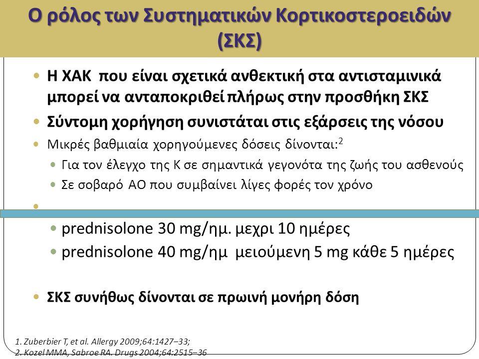 Ο ρόλος των Συστηματικών Κορτικοστεροειδών (ΣΚΣ) Η ΧΑΚ που είναι σχετικά ανθεκτική στα αντισταμινικά μπορεί να ανταποκριθεί πλήρως στην προσθήκη ΣΚΣ Σύντομη χορήγηση συνιστάται στις εξάρσεις της νόσου Μικρές βαθμιαία χορηγούμενες δόσεις δίνονται: 2 Για τον έλεγχο της Κ σε σημαντικά γεγονότα της ζωής του ασθενούς Σε σοβαρό ΑΟ που συμβαίνει λίγες φορές τον χρόνο prednisolone 30 mg/ημ.