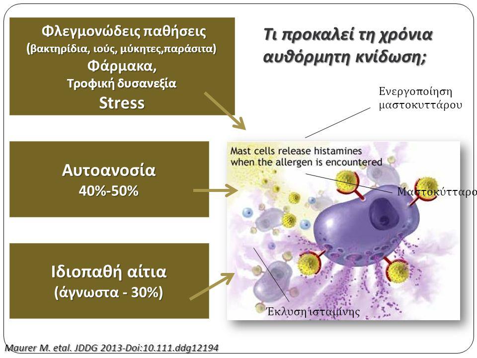 Τι προκαλεί τη χρόνια αυθόρμητη κνίδωση ; Μαστοκύτταρο Έκλυση ισταμίνης Ενεργοποίηση μαστοκυττάρου Φλεγμονώδεις παθήσεις ( βακτηρίδια, ιούς, μύκητες, παράσιτα ) Φλεγμονώδεις παθήσεις ( βακτηρίδια, ιούς, μύκητες, παράσιτα ) Φάρμακα, Τροφική δυσανεξία Stress Αυτοανοσία40%-50% Ιδιοπαθή αίτια ( άγνωστα - 30%) Maurer M.