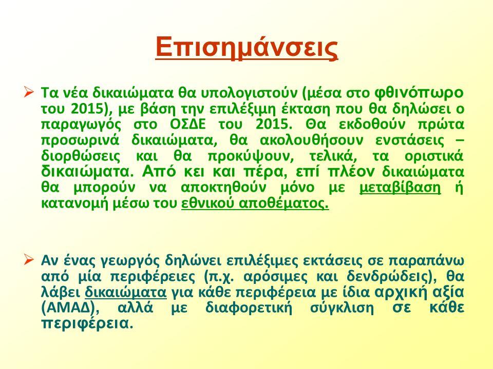 Επισημάνσεις  Τα νέα δικαιώματα θα υπολογιστούν (μέσα στο φθινόπωρο του 2015), με βάση την επιλέξιμη έκταση που θα δηλώσει ο παραγωγός στο ΟΣΔΕ του 2015.