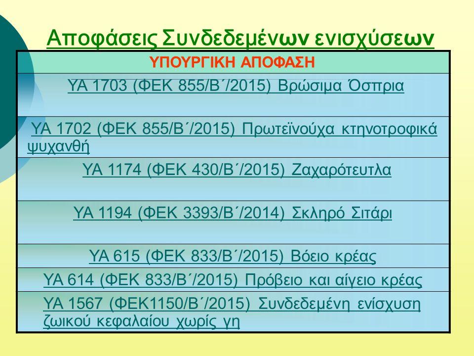 Αποφάσεις Συνδεδεμέν ων ενισχύσε ων ΥΠΟΥΡΓΙΚΗ ΑΠΟΦΑΣΗ YA 1703 (ΦΕΚ 855/Β΄/2015) Βρώσιμα Όσπρια YA 1702 (ΦΕΚ 855/Β΄/2015) Πρωτεϊνούχα κτηνοτροφικά ψυχανθή YA 1702 (ΦΕΚ 855/Β΄/2015) Πρωτεϊνούχα κτηνοτροφικά ψυχανθή ΥΑ 1174 (ΦΕΚ 430/Β΄/2015) Ζαχαρότευτλα ΥΑ 1194 (ΦΕΚ 3393/Β΄/2014) Σκληρό Σιτάρι ΥΑ 615 (ΦΕΚ 833/Β΄/2015) Βόειο κρέας ΥΑ 614 (ΦΕΚ 833/Β΄/2015) Πρόβειο και αίγειο κρέας ΥΑ 1567 (ΦΕΚ1150/Β΄/2015) Συνδεδεμένη ενίσχυση ζωικού κεφαλαίου χωρίς γη