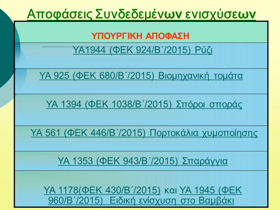 Αποφάσεις Συνδεδεμέν ων ενισχύσε ων ΥΠΟΥΡΓΙΚΗ ΑΠΟΦΑΣΗ ΥΑ1944 (ΦΕΚ 924/Β΄/2015) Ρύζι ΥΑ 925 (ΦΕΚ 680/Β΄/2015) Βιομηχανική τομάτα YA 1394 (ΦΕΚ 1038/Β΄/2015) Σπόροι σποράς ΥΑ 561 (ΦΕΚ 446/Β΄/2015) Πορτοκάλια χυμοποίησης YA 1353 (ΦΕΚ 943/Β΄/2015) Σπαράγγια ΥΑ 1178(ΦΕΚ 430/Β΄/2015) και ΥΑ 1945 (ΦΕΚ 960/Β΄/2015) Ειδική ενίσχυση στο ΒαμβάκιΥΑ 1945 (ΦΕΚ 960/Β΄/2015) Ειδική ενίσχυση στο Βαμβάκι