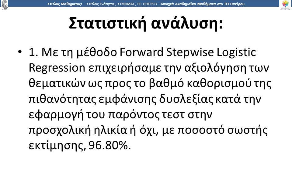 1616 -,, ΤΕΙ ΗΠΕΙΡΟΥ - Ανοιχτά Ακαδημαϊκά Μαθήματα στο ΤΕΙ Ηπείρου Στατιστική ανάλυση: 1. Με τη μέθοδο Forward Stepwise Logistic Regression επιχειρήσα