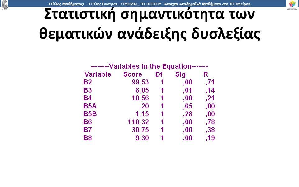 1717 -,, ΤΕΙ ΗΠΕΙΡΟΥ - Ανοιχτά Ακαδημαϊκά Μαθήματα στο ΤΕΙ Ηπείρου Στατιστική σημαντικότητα των θεματικών ανάδειξης δυσλεξίας