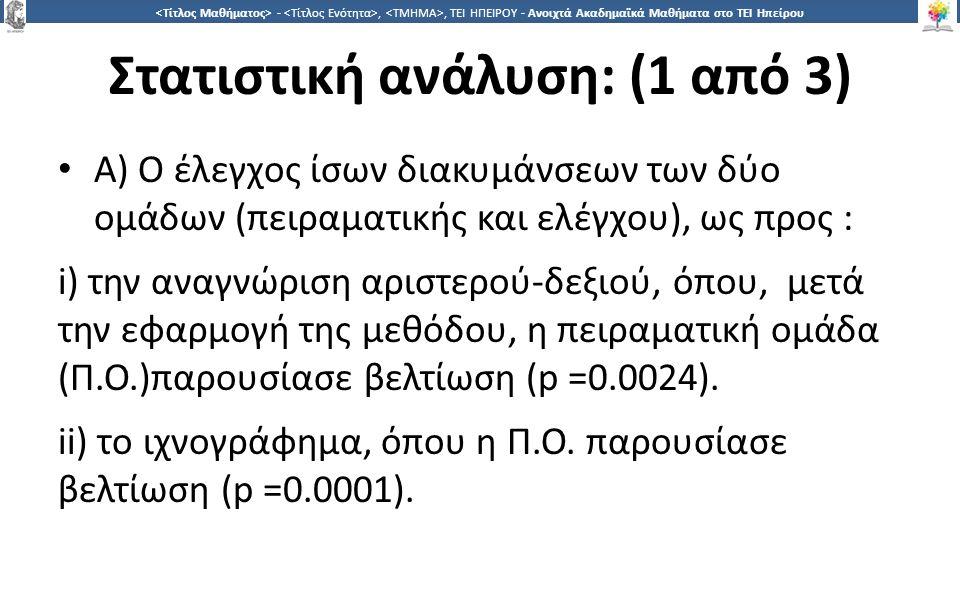 3030 -,, ΤΕΙ ΗΠΕΙΡΟΥ - Ανοιχτά Ακαδημαϊκά Μαθήματα στο ΤΕΙ Ηπείρου Στατιστική ανάλυση: (1 από 3) Α) Ο έλεγχος ίσων διακυμάνσεων των δύο ομάδων (πειραματικής και ελέγχου), ως προς : i) την αναγνώριση αριστερού-δεξιού, όπου, μετά την εφαρμογή της μεθόδου, η πειραματική ομάδα (Π.Ο.)παρουσίασε βελτίωση (p =0.0024).