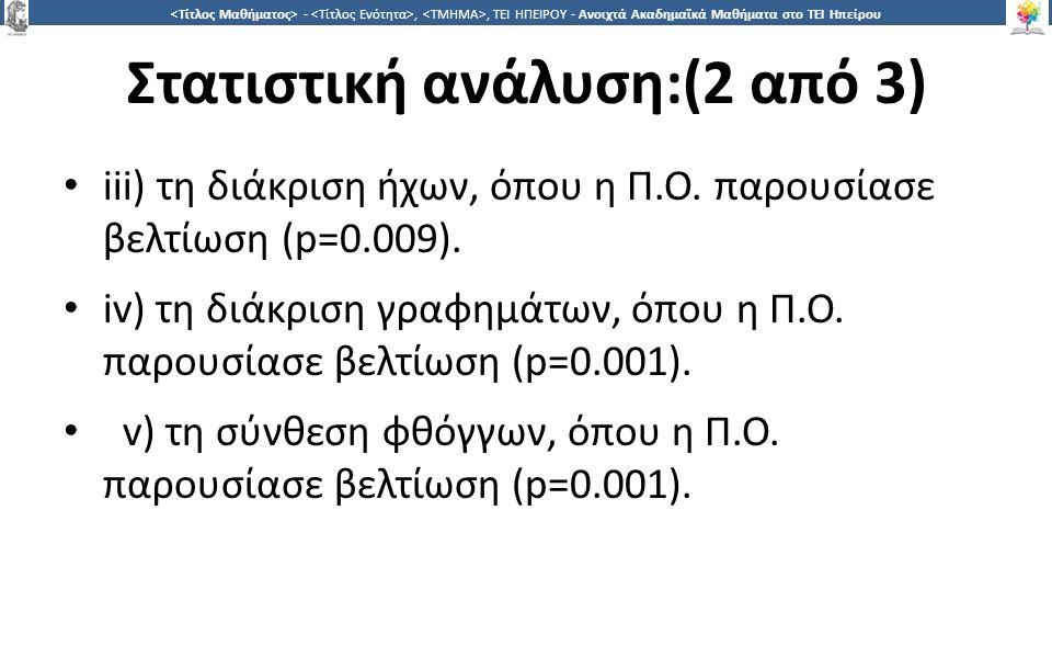 3131 -,, ΤΕΙ ΗΠΕΙΡΟΥ - Ανοιχτά Ακαδημαϊκά Μαθήματα στο ΤΕΙ Ηπείρου Στατιστική ανάλυση:(2 από 3) iii) τη διάκριση ήχων, όπου η Π.Ο. παρουσίασε βελτίωση