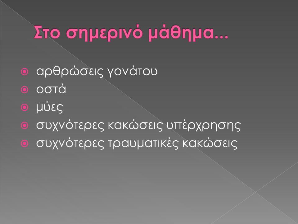 Καμπτήρες: Δικέφαλος μηριαίος, ημιυμενώδης, ημιτενοντώδης, ιγνυακός, ραπτικός, ισχνός προσαγωγός, γαστροκνήμιο Εκτείνοντες: Τετρακέφαλος μηριαίος, τείνων την πλατεία περιτονία (λαγονοκνημιαία ταινία).