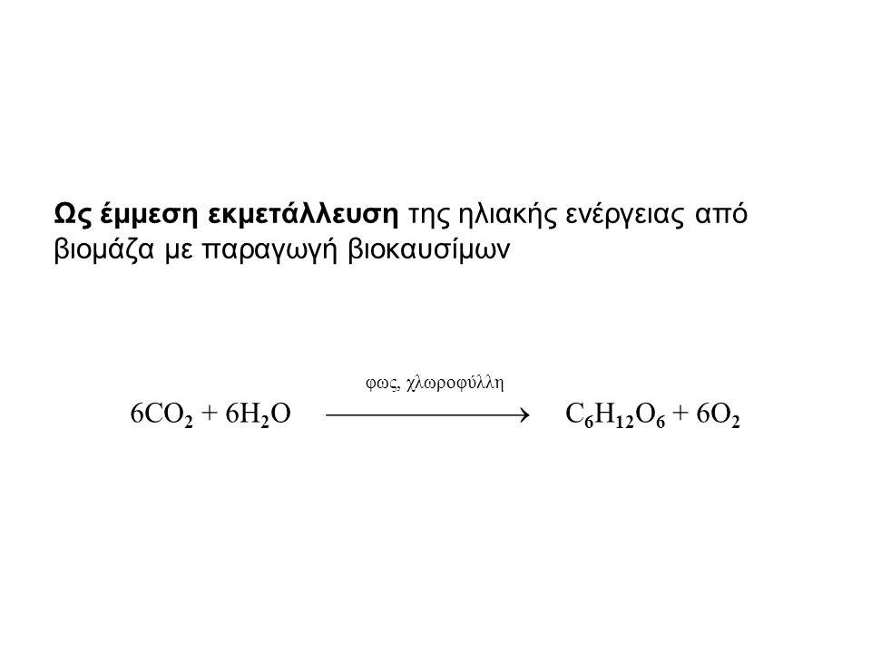 Ως έμμεση εκμετάλλευση της ηλιακής ενέργειας από βιομάζα με παραγωγή βιοκαυσίμων φως, χλωροφύλλη 6CO 2 + 6Η 2 Ο  C 6 H 12 O 6 + 6O 2