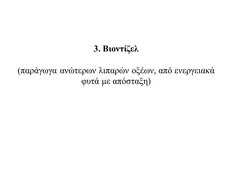 3. Bιοντίζελ (παράγωγα ανώτερων λιπαρών οξέων, από ενεργειακά φυτά με απόσταξη)