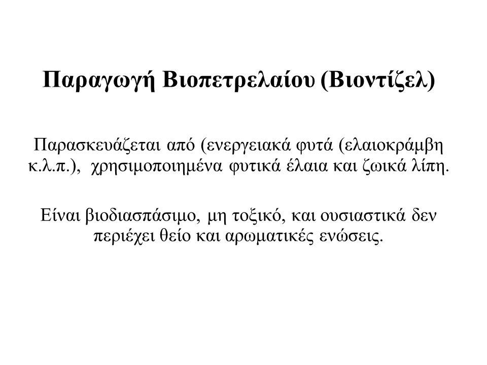 Παραγωγή Βιοπετρελαίου (Βιοντίζελ) Παρασκευάζεται από (ενεργειακά φυτά (ελαιοκράμβη κ.λ.π.), χρησιμοποιημένα φυτικά έλαια και ζωικά λίπη.