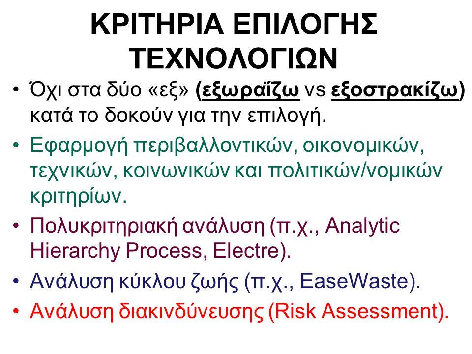 ΚΡΙΤΗΡΙΑ ΕΠΙΛΟΓΗΣ ΤΕΧΝΟΛΟΓΙΩΝ Όχι στα δύο «εξ» (εξωραΐζω vs εξοστρακίζω) κατά το δοκούν για την επιλογή. Εφαρμογή περιβαλλοντικών, οικονομικών, τεχνικ