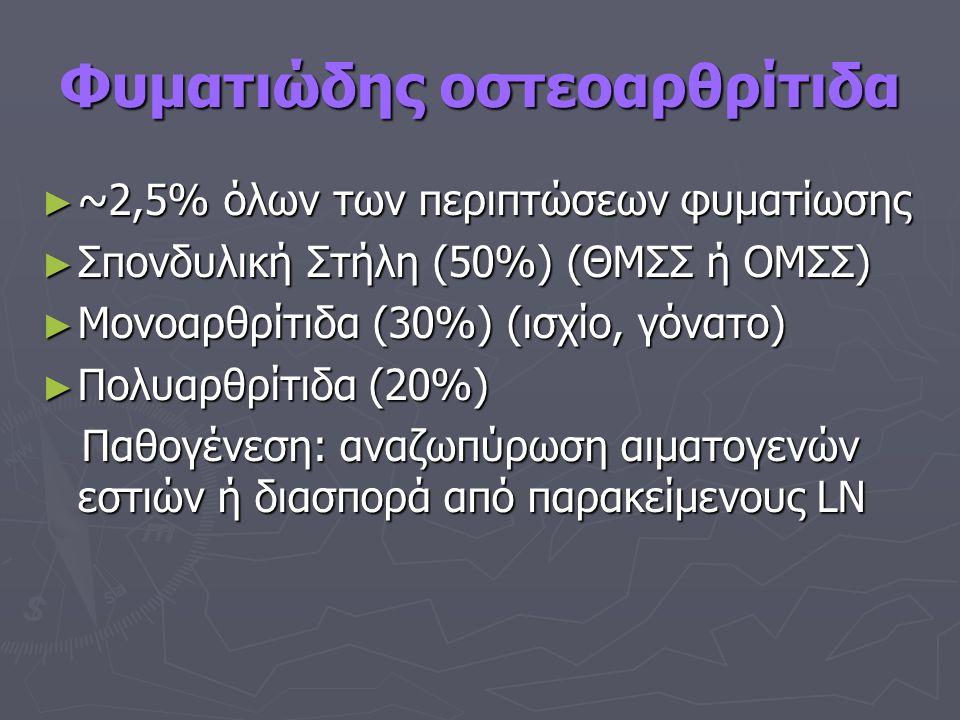 Φυματιώδης οστεοαρθρίτιδα ► ~2,5% όλων των περιπτώσεων φυματίωσης ► Σπονδυλική Στήλη (50%) (ΘΜΣΣ ή ΟΜΣΣ) ► Μονοαρθρίτιδα (30%) (ισχίο, γόνατο) ► Πολυαρθρίτιδα (20%) Παθογένεση: αναζωπύρωση αιματογενών εστιών ή διασπορά από παρακείμενους LN Παθογένεση: αναζωπύρωση αιματογενών εστιών ή διασπορά από παρακείμενους LN