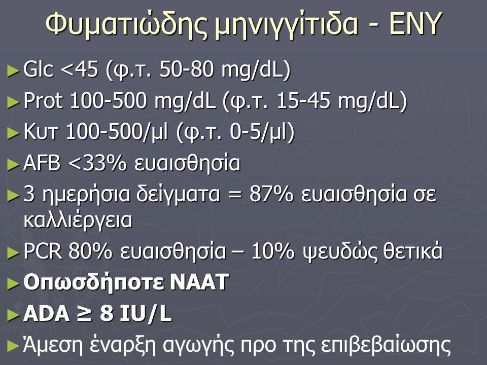 Φυματιώδης μηνιγγίτιδα - ΕΝΥ ► Glc <45 (φ.τ.50-80 mg/dL) ► Prot 100-500 mg/dL (φ.τ.