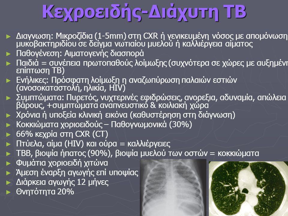 Κεχροειδής-Διάχυτη TB ► ► Διαγνωση: Mικροζίδια (1-5mm) στη CXR ή γενικευμένη νόσος με απομόνωση μυκοβακτηριδίου σε δείγμα νωτιαίου μυελού ή καλλιέργεια αίματος ► ► Παθογένεση: Αιματογενής διασπορά ► ► Παιδιά = συνέπεια πρωτοπαθούς λοίμωξης (συχνότερα σε χώρες με αυξημένη επίπτωση ΤΒ) ► ► Ενήλικες: Πρόσφατη λοίμωξη η αναζωπύρωση παλαιών εστιών (ανοσοκαταστολή, ηλικία, HIV) ► ► Συμπτώματα: Πυρετός, νυχτερινές εφιδρώσεις, ανορεξια, αδυναμία, απώλεια βάρους, +συμπτώματα αναπνευστικό & κοιλιακή χώρα ► ► Χρόνια ή υποξεία κλινική εικόνα (καθυστέρηση στη διάγνωση) ► ► Κοκκιώματα χοριοειδούς – Παθογνωμονικά (30%) ► ► 66% κεχρία στη CXR (CT) ► ► Πτύελα, αίμα (HIV) και ούρα = καλλιέργειες ► ► TBB, βιοψία ήπατος (90%), βιοψία μυελού των οστών = κοκκιώματα ► ► Φυμάτια χοριοειδή χιτώνα ► ► Άμεση έναρξη αγωγής επί υποψίας ► ► Διάρκεια αγωγής 12 μήνες ► ► Θνητότητα 20%