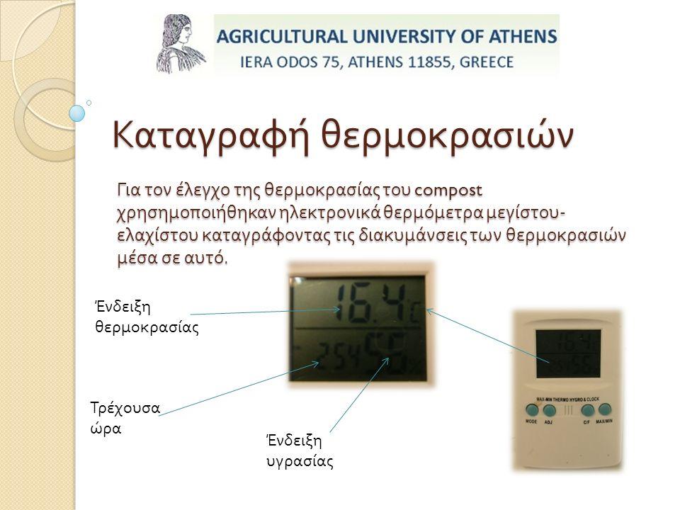 Καταγραφή θερμοκρασιών Για τον έλεγχο της θερμοκρασίας του compost χρησημοποιήθηκαν ηλεκτρονικά θερμόμετρα μεγίστου - ελαχίστου καταγράφοντας τις διακυμάνσεις των θερμοκρασιών μέσα σε αυτό.