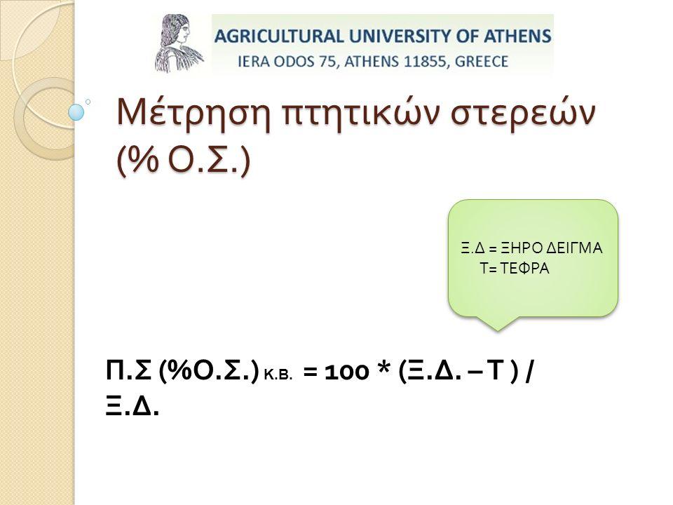 Μέτρηση πτητικών στερεών (% Ο. Σ.) Π.Σ (%Ο.Σ.) Κ.Β.