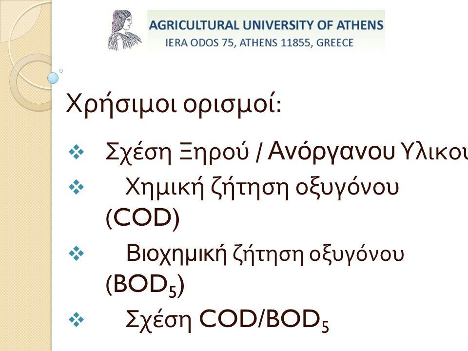 Χρήσιμοι ορισμοί :  Σχέση Ξηρού / Ανόργανου Υλικού  Χημική ζήτηση οξυγόνου ( COD)  Βιοχημική ζήτηση οξυγόνου ( BOD 5 )  Σχέση COD/BOD 5