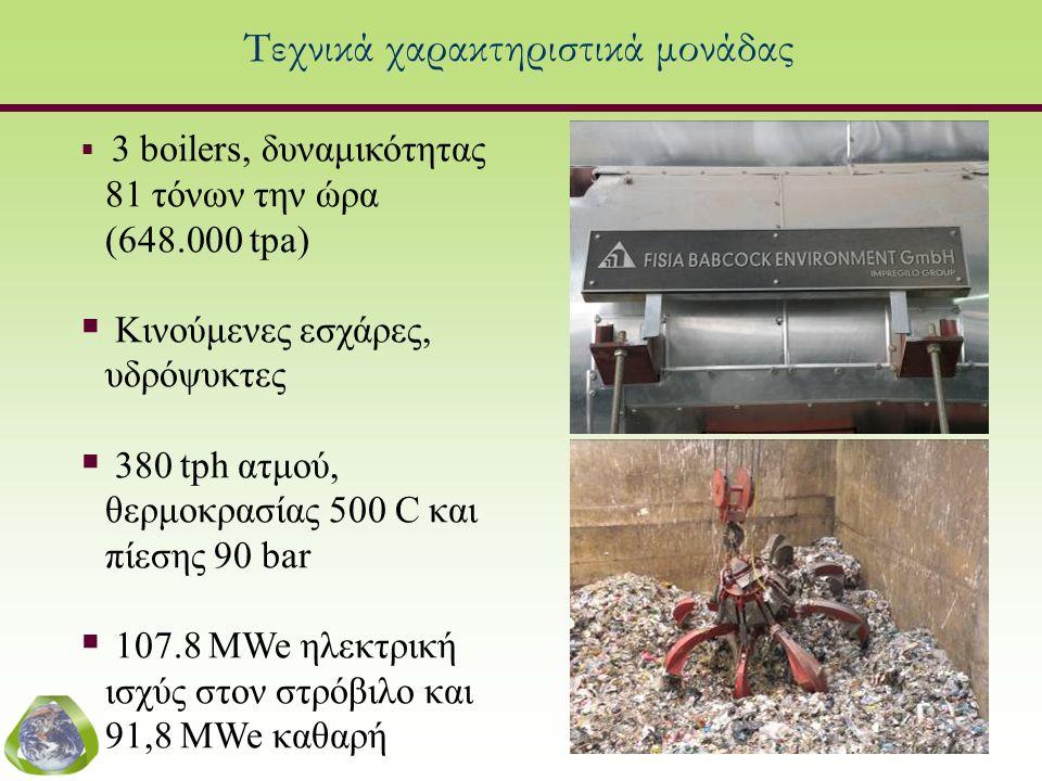  3 boilers, δυναμικότητας 81 τόνων την ώρα (648.000 tpa)  Κινούμενες εσχάρες, υδρόψυκτες  380 tph ατμού, θερμοκρασίας 500 C και πίεσης 90 bar  107