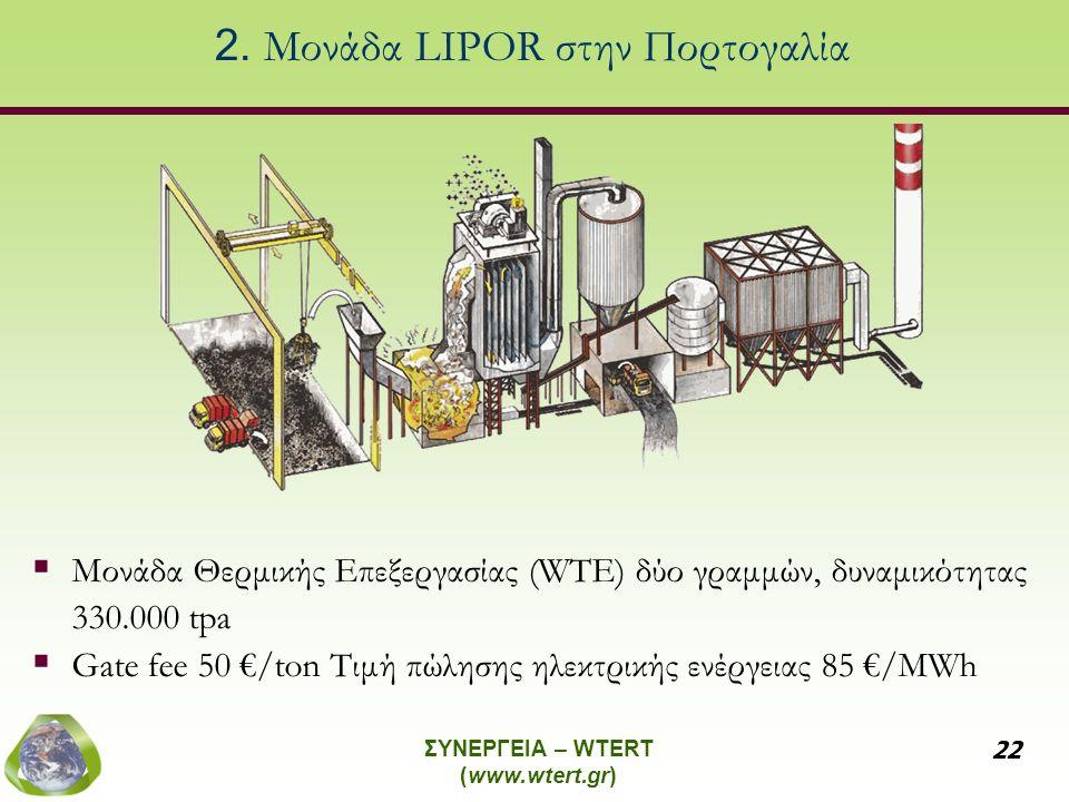 ΣΥΝΕΡΓΕΙΑ – WTERT (www.wtert.gr) 22 2. Μονάδα LIPOR στην Πορτογαλία  Μονάδα Θερμικής Επεξεργασίας (WTE) δύο γραμμών, δυναμικότητας 330.000 tpa  Gate