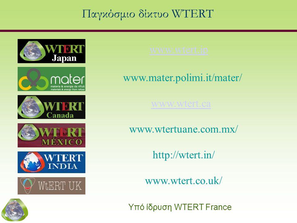 Παγκόσμιο δίκτυο WTERT www.mater.polimi.it/mater/ www.wtert.ca www.wtert.jp Υπό ίδρυση WTERT France www.wtertuane.com.mx/ http://wtert.in/ www.wtert.c