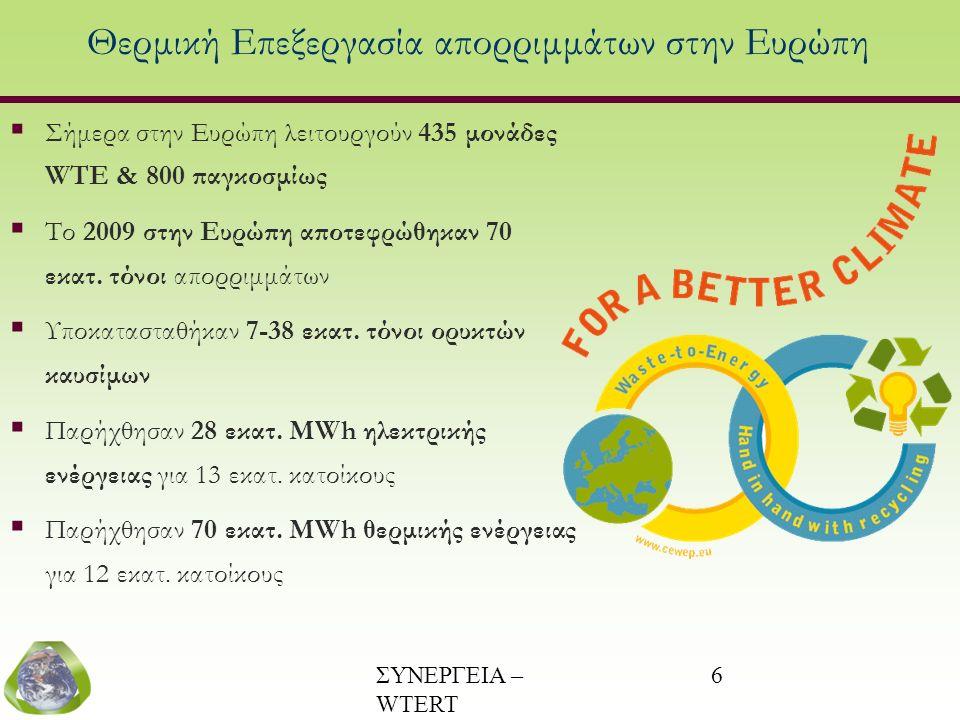 ΣΥΝΕΡΓΕΙΑ – WTERT (www.wtert.gr) 6 Θερμική Επεξεργασία απορριμμάτων στην Ευρώπη  Σήμερα στην Ευρώπη λειτουργούν 435 μονάδες WTE & 800 παγκοσμίως  Το