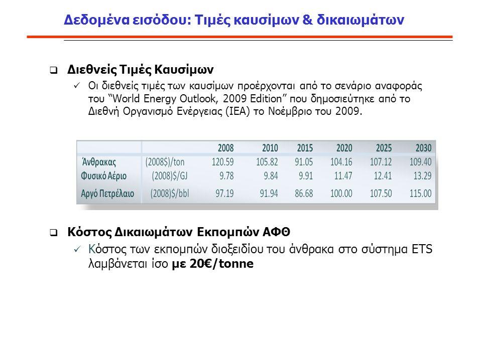 Διεθνείς Τιμές Καυσίμων Οι διεθνείς τιμές των καυσίμων προέρχονται από το σενάριο αναφοράς του World Energy Outlook, 2009 Edition που δημοσιεύτηκε από το Διεθνή Οργανισμό Ενέργειας (IEA) το Νοέμβριο του 2009.
