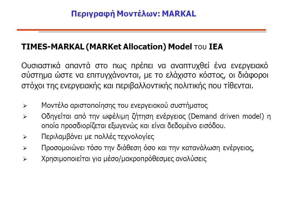 Περιγραφή Μοντέλων: MARKAL  Μοντέλο αριστοποίησης του ενεργειακού συστήματος  Οδηγείται από την ωφέλιμη ζήτηση ενέργειας (Demand driven model) η οποία προσδιορίζεται εξωγενώς και είναι δεδομένο εισόδου.