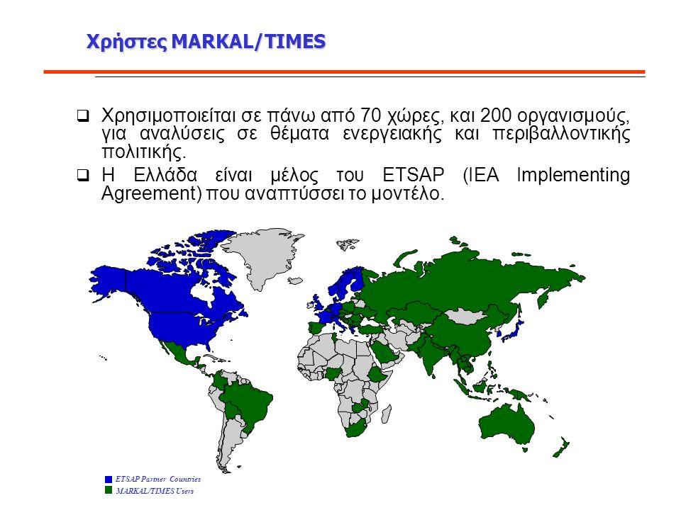 Χρήστες MARKAL/TIMES  Χρησιμοποιείται σε πάνω από 70 χώρες, και 200 οργανισμούς, για αναλύσεις σε θέματα ενεργειακής και περιβαλλοντικής πολιτικής.