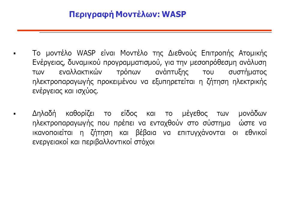 Περιγραφή Μοντέλων: WASP  Το μοντέλο WASP είναι Μοντέλο της Διεθνούς Επιτροπής Ατομικής Ενέργειας, δυναμικού προγραμματισμού, για την μεσοπρόθεσμη ανάλυση των εναλλακτικών τρόπων ανάπτυξης του συστήματος ηλεκτροπαραγωγής προκειμένου να εξυπηρετείται η ζήτηση ηλεκτρικής ενέργειας και ισχύος.