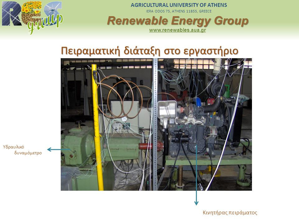 AGRICULTURAL UNIVERSITY OF ATHENS IERA ODOS 75, ATHENS 11855, GREECE Renewable Energy Group www.renewables.aua.gr Πειραματική διάταξη στο εργαστήριο Υ