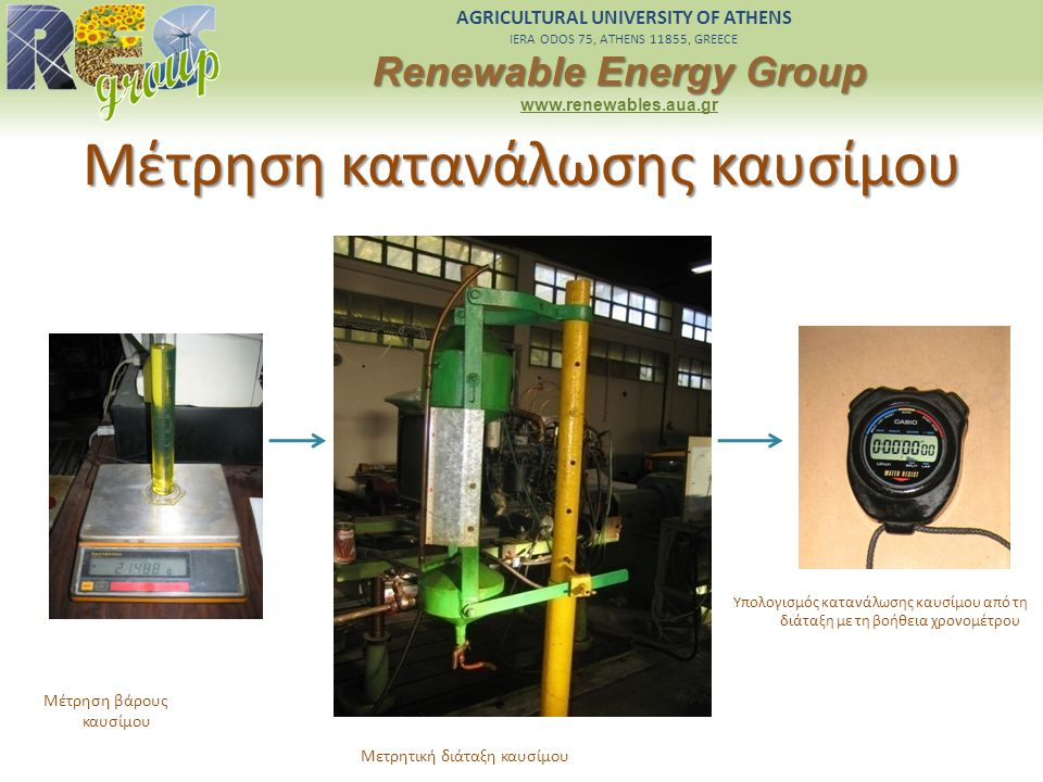 AGRICULTURAL UNIVERSITY OF ATHENS IERA ODOS 75, ATHENS 11855, GREECE Renewable Energy Group www.renewables.aua.gr Μέτρηση κατανάλωσης καυσίμου Μέτρηση