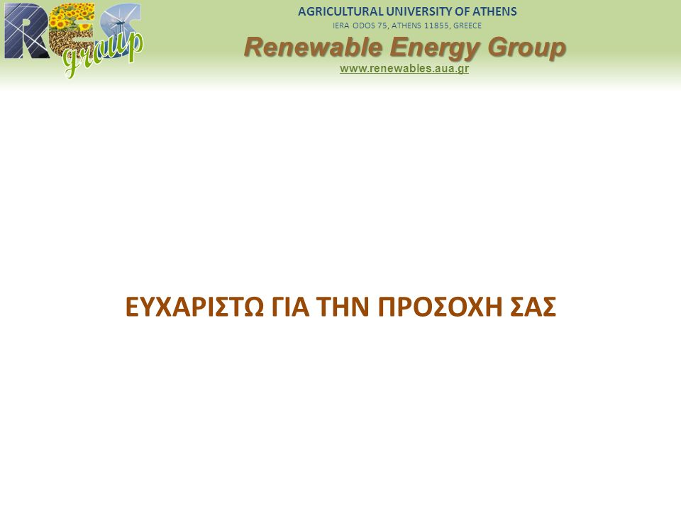 AGRICULTURAL UNIVERSITY OF ATHENS IERA ODOS 75, ATHENS 11855, GREECE Renewable Energy Group www.renewables.aua.gr ΕΥΧΑΡΙΣΤΩ ΓΙΑ ΤΗΝ ΠΡΟΣΟΧΗ ΣΑΣ