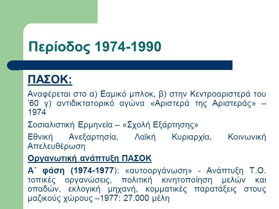 Περίοδος 1974-1990 ΠΑΣΟΚ: Αναφέρεται στο α) Εαμικό μπλοκ, β) στην Κεντροαριστερά του '60 γ) αντιδικτατορικό αγώνα «Αριστερά της Αριστεράς» – 1974 Σοσιαλιστική Ερμηνεία – «Σχολή Εξάρτησης» Εθνική Ανεξαρτησία, Λαϊκή Κυριαρχία, Κοινωνική Απελευθέρωση Οργανωτική ανάπτυξη ΠΑΣΟΚ Α΄ φάση (1974-1977): «αυτοοργάνωση» - Ανάπτυξη Τ.Ο.