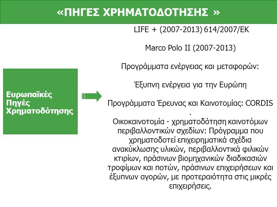 Ευρωπαϊκές Πηγές Χρηματοδότησης LIFE + (2007-2013) 614/2007/ΕΚ Marco Polo II (2007-2013) Προγράμματα ενέργειας και μεταφορών: Έξυπνη ενέργεια για την Ευρώπη Προγράμματα Έρευνας και Καινοτομίας: CORDIS.