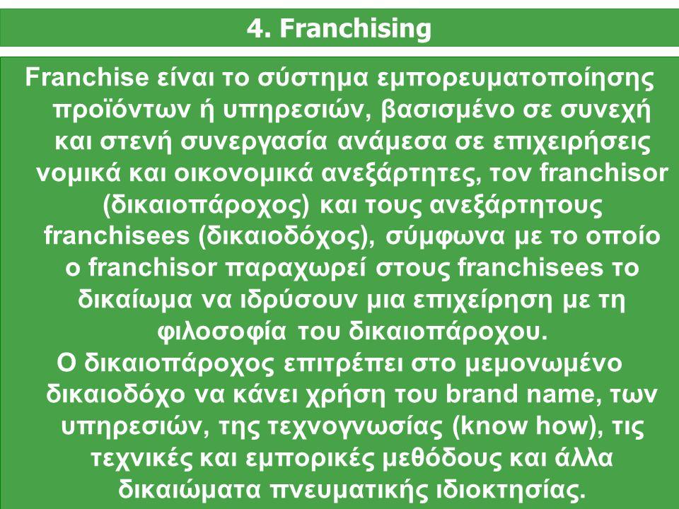 Franchise είναι το σύστημα εμπορευματοποίησης προϊόντων ή υπηρεσιών, βασισμένο σε συνεχή και στενή συνεργασία ανάμεσα σε επιχειρήσεις νομικά και οικονομικά ανεξάρτητες, τον franchisor (δικαιοπάροχος) και τους ανεξάρτητους franchisees (δικαιοδόχος), σύμφωνα με το οποίο ο franchisor παραχωρεί στους franchisees το δικαίωμα να ιδρύσουν μια επιχείρηση με τη φιλοσοφία του δικαιοπάροχου.