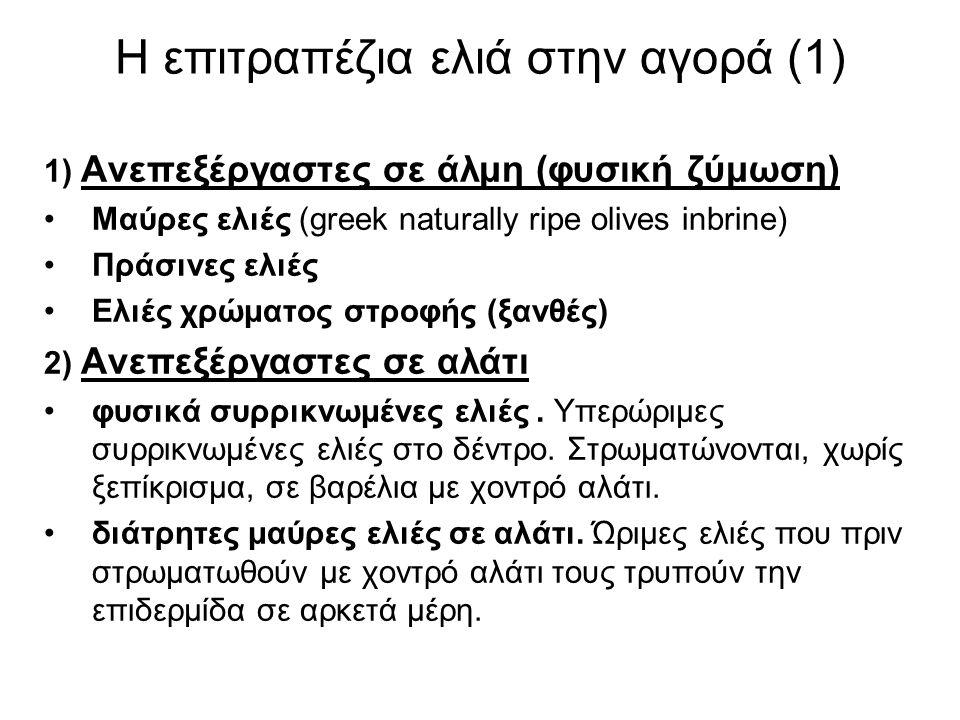 Η επιτραπέζια ελιά στην αγορά (1) 1) Ανεπεξέργαστες σε άλμη (φυσική ζύμωση) Μαύρες ελιές (greek naturally ripe olives inbrine) Πράσινες ελιές Ελιές χρώματος στροφής (ξανθές) 2) Ανεπεξέργαστες σε αλάτι φυσικά συρρικνωμένες ελιές.