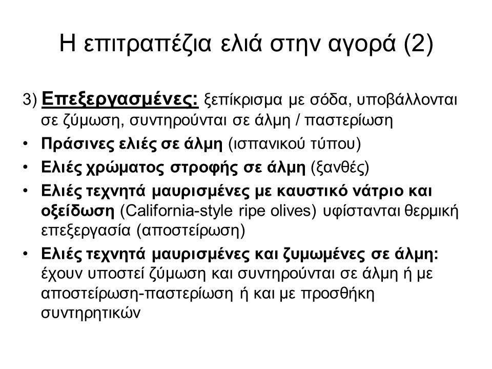 Η επιτραπέζια ελιά στην αγορά (2) 3) Επεξεργασμένες: ξεπίκρισμα με σόδα, υποβάλλονται σε ζύμωση, συντηρούνται σε άλμη / παστερίωση Πράσινες ελιές σε άλμη (ισπανικού τύπου) Ελιές χρώματος στροφής σε άλμη (ξανθές) Ελιές τεχνητά μαυρισμένες με καυστικό νάτριο και οξείδωση (California-style ripe olives) υφίστανται θερμική επεξεργασία (αποστείρωση) Ελιές τεχνητά μαυρισμένες και ζυμωμένες σε άλμη: έχουν υποστεί ζύμωση και συντηρούνται σε άλμη ή με αποστείρωση-παστερίωση ή και με προσθήκη συντηρητικών