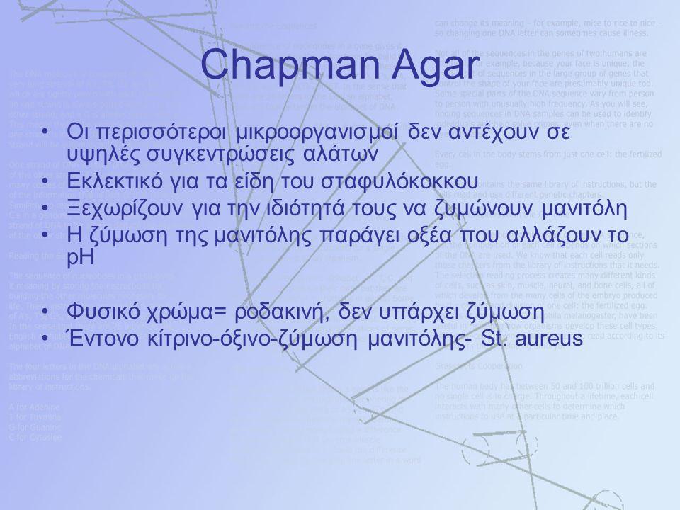 Chapman Agar Οι περισσότεροι μικροοργανισμοί δεν αντέχουν σε υψηλές συγκεντρώσεις αλάτων Εκλεκτικό για τα είδη του σταφυλόκοκκου Ξεχωρίζουν για την ιδιότητά τους να ζυμώνουν μανιτόλη Η ζύμωση της μανιτόλης παράγει οξέα που αλλάζουν το pH Φυσικό χρώμα= ροδακινή, δεν υπάρχει ζύμωση Έντονο κίτρινο-όξινο-ζύμωση μανιτόλης- St.