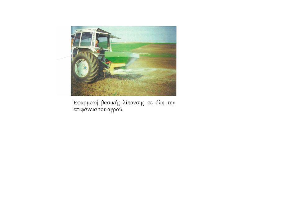 Εφαρμογή βασικής λίπανσης σε όλη την επιφάνεια του αγρού.