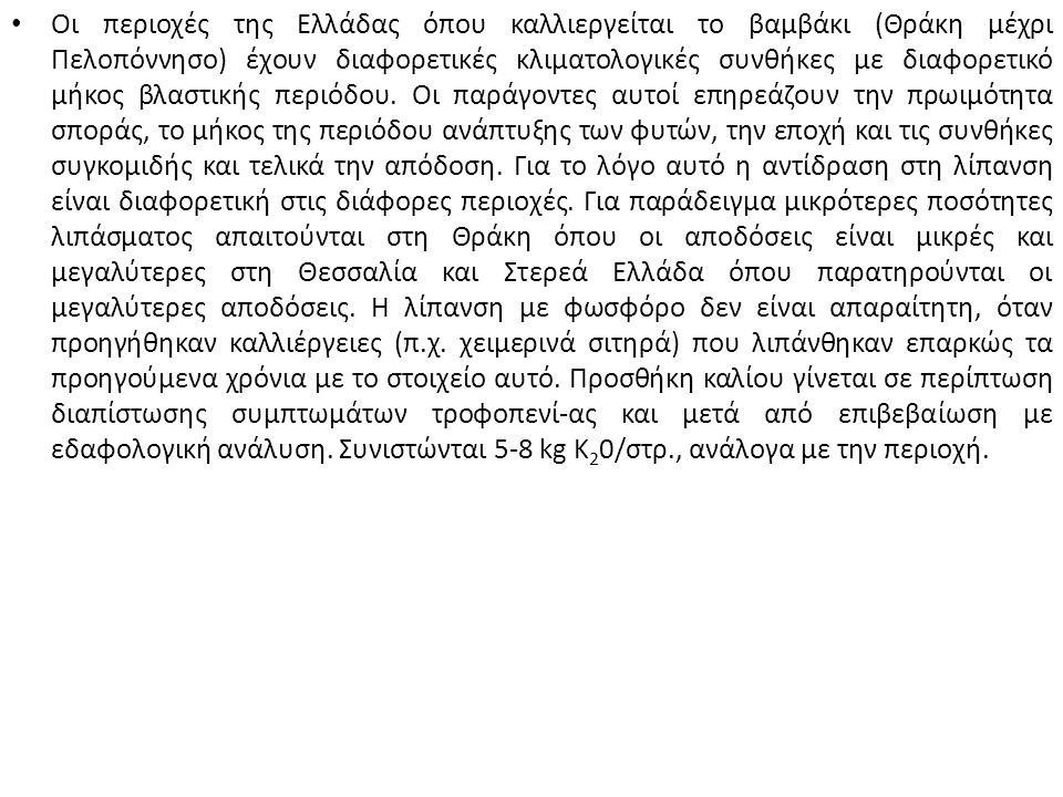 Οι περιοχές της Ελλάδας όπου καλλιεργείται το βαμβάκι (Θράκη μέχρι Πελοπόννησο) έχουν διαφορετικές κλιματολογικές συνθήκες με διαφορετικό μήκος βλαστικής περιόδου.