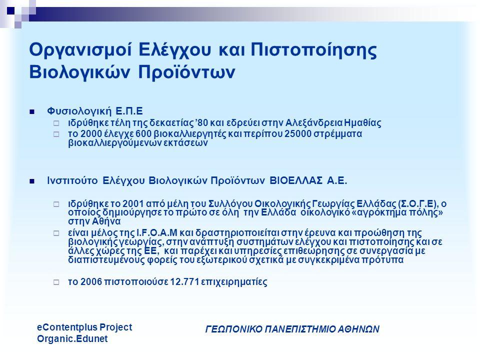 ΓΕΩΠΟΝΙΚΟ ΠΑΝΕΠΙΣΤΗΜΙΟ ΑΘΗΝΩΝ eContentplus Project Organic.Edunet Οργανισμοί Ελέγχου και Πιστοποίησης Βιολογικών Προϊόντων Φυσιολογική Ε.Π.Ε  ιδρύθηκε τέλη της δεκαετίας '80 και εδρεύει στην Αλεξάνδρεια Ημαθίας  το 2000 έλεγχε 600 βιοκαλλιεργητές και περίπου 25000 στρέμματα βιοκαλλιεργούμενων εκτάσεων Ινστιτούτο Ελέγχου Βιολογικών Προϊόντων ΒΙΟΕΛΛΑΣ Α.Ε.
