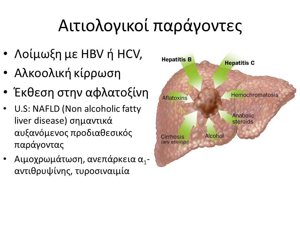 Αιτιολογικοί παράγοντες Λοίμωξη με HBV ή HCV, Αλκοολική κίρρωση Έκθεση στην αφλατοξίνη U.S: NAFLD (Νοn alcoholic fatty liver disease) σημαντικά αυξανόμενος προδιαθεσικός παράγοντας Αιμοχρωμάτωση, ανεπάρκεια α 1 - αντιθρυψίνης, τυροσιναιμία
