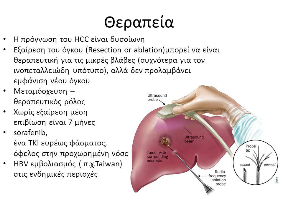 Θεραπεία Η πρόγνωση του HCC είναι δυσοίωνη Εξαίρεση του όγκου (Resection or ablation)μπορεί να είναι θεραπευτική για τις μικρές βλάβες (συχνότερα για τον ινοπεταλλειώδη υπότυπο), αλλά δεν προλαμβάνει εμφάνιση νέου όγκου Μεταμόσχευση – θεραπευτικός ρόλος Χωρίς εξαίρεση μέση επιβίωση είναι 7 μήνες sorafenib, ένα TKI ευρέως φάσματος, όφελος στην προχωρημένη νόσο HBV εμβολιασμός ( π.χ.Taiwan) στις ενδημικές περιοχές
