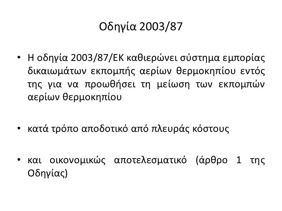 Οδηγία 2003/87 Η οδηγία 2003/87/ΕΚ καθιερώνει σύστημα εμπορίας δικαιωμάτων εκπομπής αερίων θερμοκηπίου εντός της για να προωθήσει τη μείωση των εκπομπών αερίων θερμοκηπίου κατά τρόπο αποδοτικό από πλευράς κόστους και οικονομικώς αποτελεσματικό (άρθρο 1 της Οδηγίας)