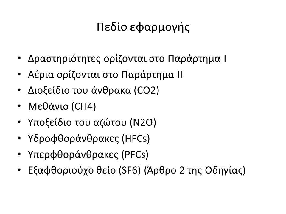 Πεδίο εφαρμογής Δραστηριότητες ορίζονται στο Παράρτημα Ι Αέρια ορίζονται στο Παράρτημα ΙΙ Διοξείδιο του άνθρακα (CO2) Μεθάνιο (CH4) Υποξείδιο του αζώτου (N2O) Υδροφθοράνθρακες (HFCs) Υπερφθοράνθρακες (PFCs) Εξαφθοριούχο θείο (SF6) (Άρθρο 2 της Οδηγίας)