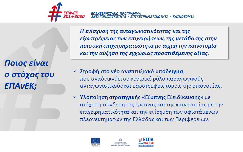Ποιος είναι ο στόχος του ΕΠΑνΕΚ; Η ενίσχυση της ανταγωνιστικότητας και της εξωστρέφειας των επιχειρήσεων, της μετάβασης στην ποιοτική επιχειρηματικότη