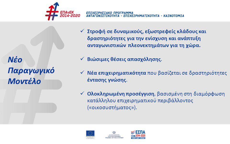 17 Άξονες Προτεραιότητας ΑΠ 01 : «Ανάπτυξη επιχειρηματικότητας με Τομεακές προτεραιότητες» προϋπολογισμού 2.367,8 εκ.€ - 50,76% ΑΠ 02 : «Προσαρμογή εργαζομένων, επιχειρήσεων και επιχειρηματικού περιβάλλοντος στις νέες αναπτυξιακές απαιτήσεις» προϋπολογισμού 849,9 εκ.€ - 18,22% ΑΠ 03: «Ανάπτυξη μηχανισμών στήριξης της επιχειρηματικότητας» προϋπολογισμού 1.360,9 εκ.€ - 29,17% ΑΠ 04: «Τεχνική Συνδρομή ΕΤΠΑ» προϋπολογισμού 70,5 εκ.€ - 1,5% ΑΠ 05: «Τεχνική Συνδρομή ΕΚΤ» προϋπολογισμού 16 εκ.€ - 0,34%