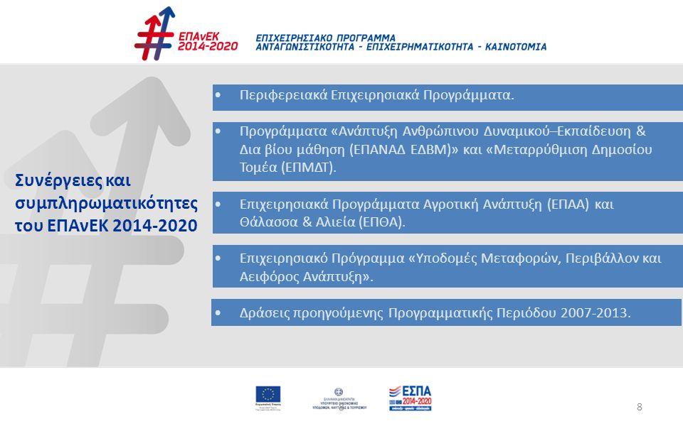 88 Περιφερειακά Επιχειρησιακά Προγράμματα. Προγράμματα «Ανάπτυξη Ανθρώπινου Δυναμικού–Εκπαίδευση & Δια βίου μάθηση (ΕΠΑΝΑΔ ΕΔΒΜ)» και «Μεταρρύθμιση Δη