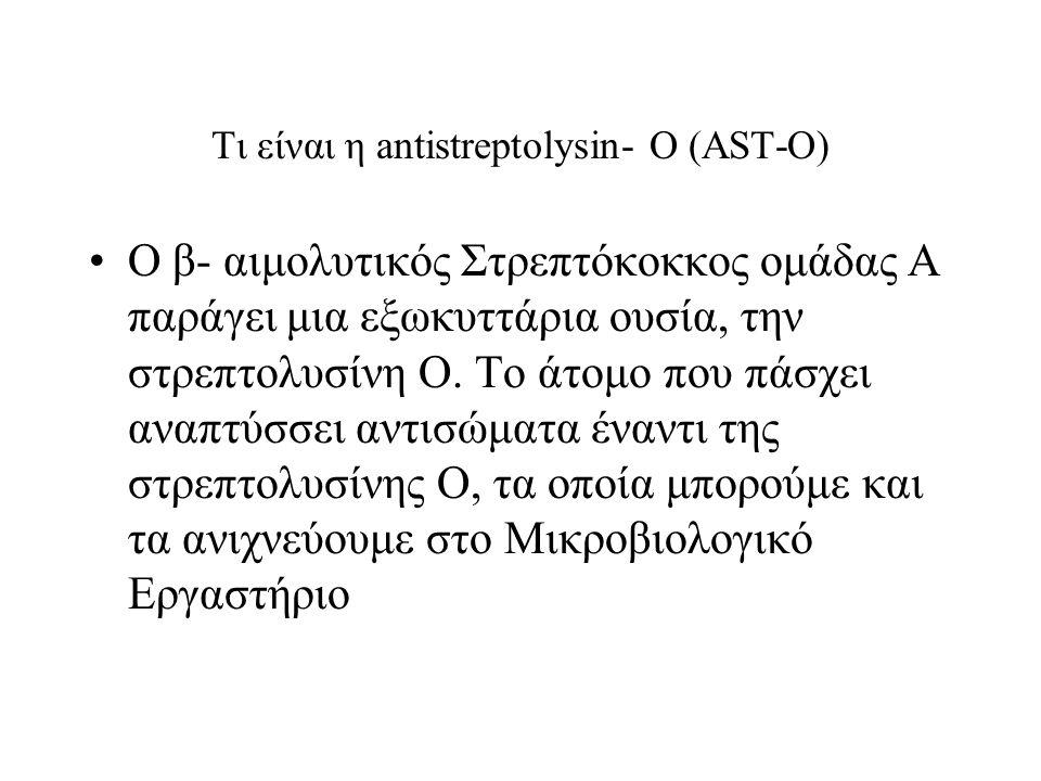Τι είναι η antistreptolysin- O (AST-O) Ο β- αιμολυτικός Στρεπτόκοκκος ομάδας Α παράγει μια εξωκυττάρια ουσία, την στρεπτολυσίνη Ο.